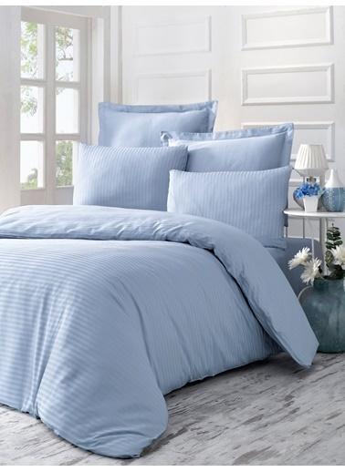 Komfort Home Tek Kişilik Exclusive Deluxe Saten Nevresim Takımı (Ln Blue) Mavi